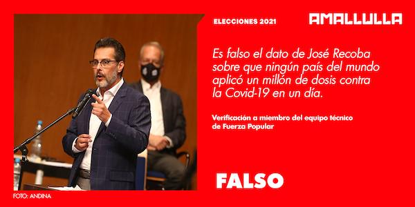 Es falso el dato de José Recoba sobre que en ninguna parte del mundo se ha logrado aplicar un millón de dosis contra la Covid-19 al día.