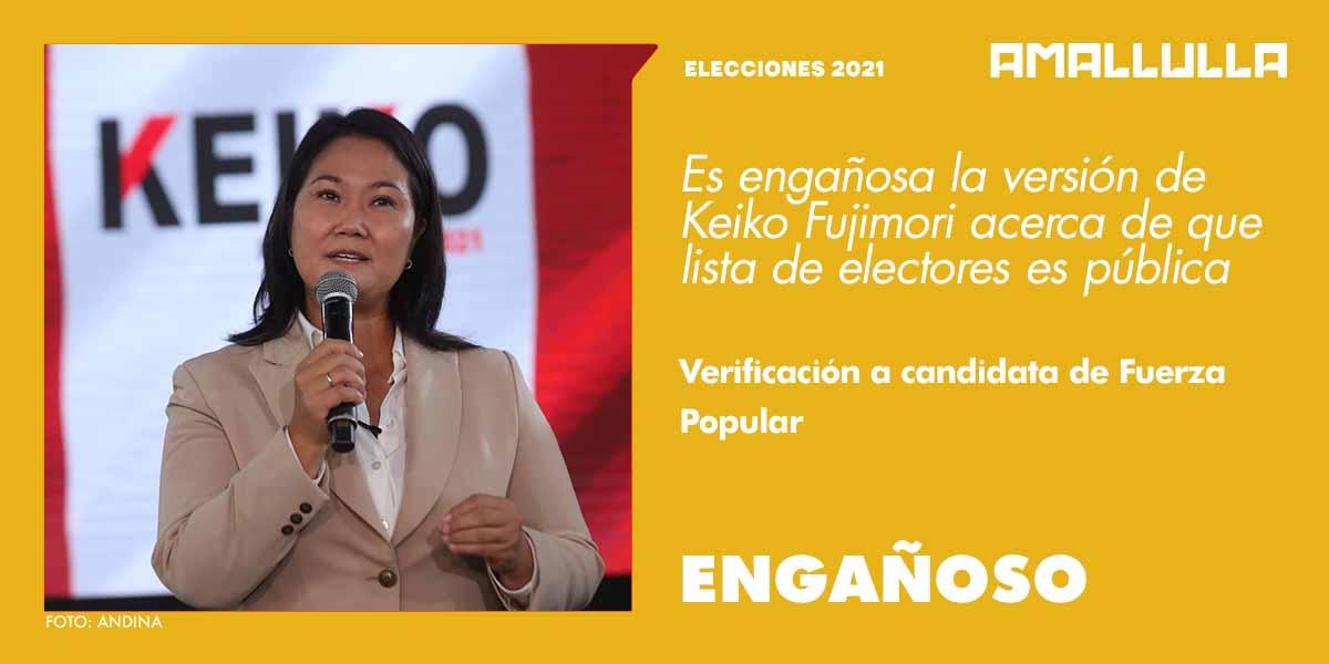 Engañoso: versión de Fujimori acerca de que padrón electoral y lista de votantes son públicas
