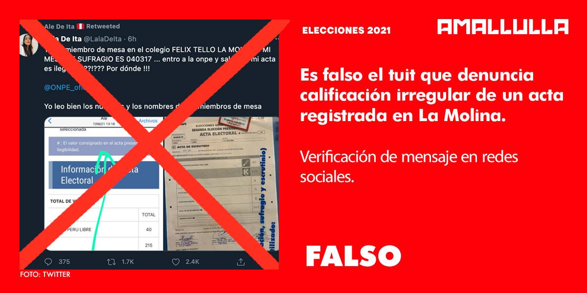 Es falso el tuit que denuncia calificación irregular de un acta registrada en La Molina