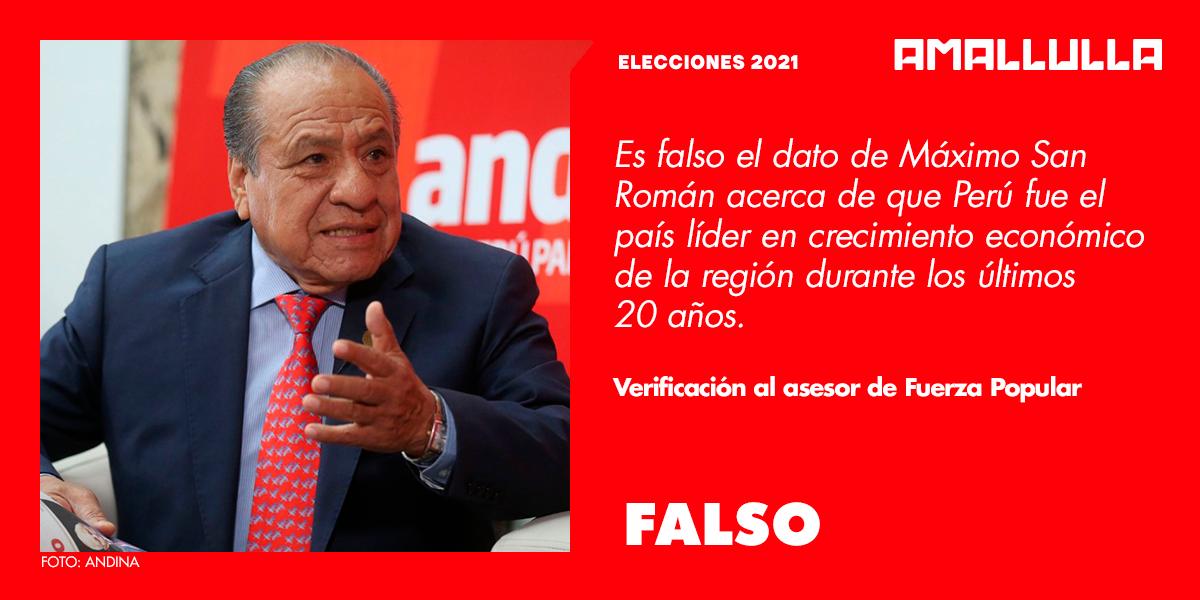 Es falso el dato de Máximo San Román acerca de que Perú fue el país líder en crecimiento económico de la región durante los últimos 20 años