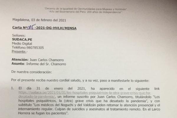 Carta del hospital Larco Herrera y respuesta