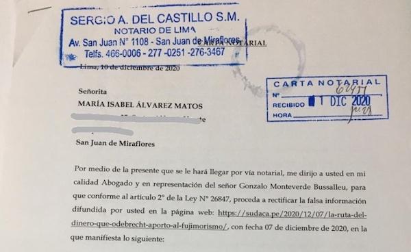 Carta notarial de Gonzalo Monteverde y respuesta