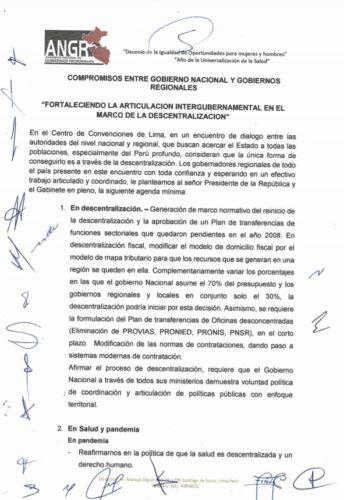 Acuerdo de GOREs del 14 de agosto.