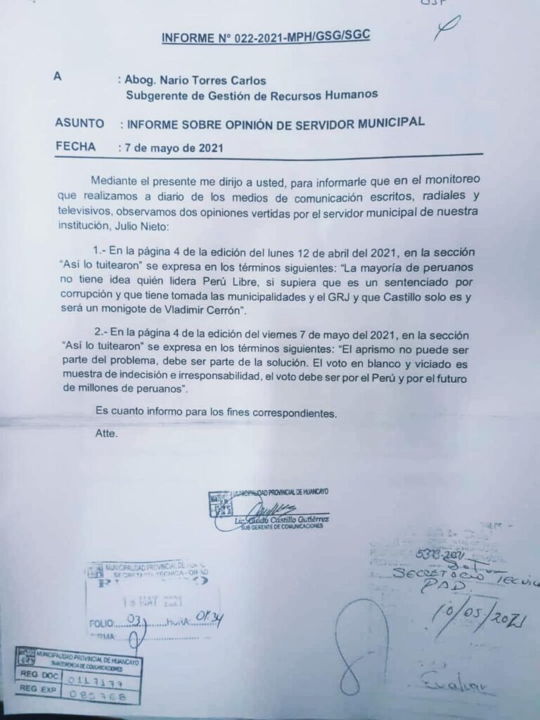 informe contra Julio Nieto